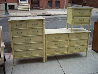 Uhuru Furniture &amp Collectibles: 1960s Yellow Wash Wood Rattan Bedroom Set  SOLD! - 1960s Bedroom Furniture