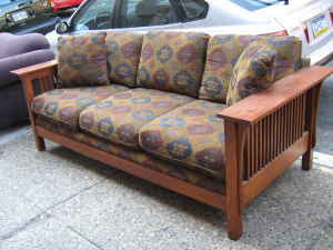 This Mission Style Sofa With Its Midwestern Flare Is Sure To E Up Your Place The Wood Beautiful And Fabric Clean