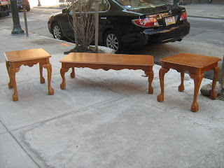 Golden Oak Claw Foot Coffee Table Set   SOLD