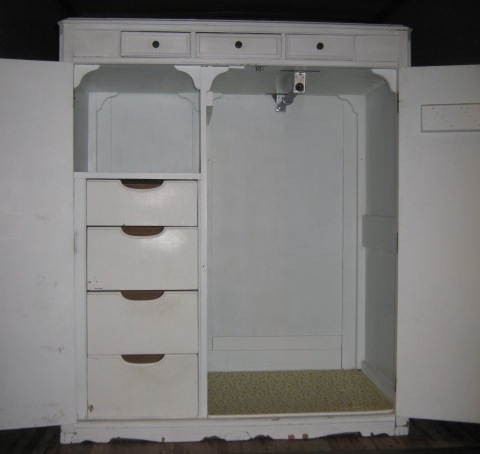 White Painted Antique Clothing Armoire SOLD