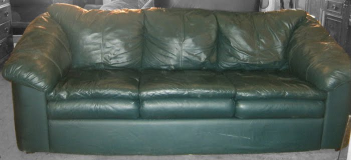 Perfect Green Leather Sofa W/ Ottomans SOLD