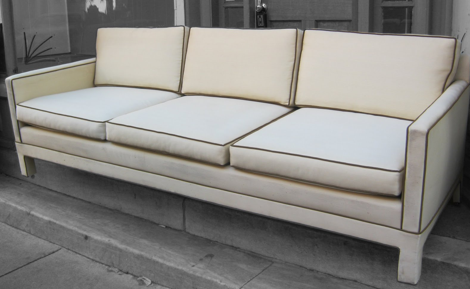 Superb Cream Sofa With Chocolate Piping SOLD