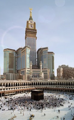 World's biggest clock photo, World's largest clock picture, largest clock in the world, biggest clock in Saudi Arabia, Mecca's famed Grand Mosque, World's biggest clock 2010 video, royal mecca clock tower