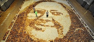 World's Largest Toast Mosaic Portrait photo, Largest Toast Mosaic Portrait picture, Laura Hadland Guinness World Record 2011, youngest mosaic makers, youngest mosaic makers in the world