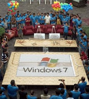 Microsoft Dominoes Limca Book of Records 2011, Microsoft Windows 7 logo photo, Microsoft Windows 7 picture, Microsoft's Hyderabad Center limca record, dazzling display of the Windows 7 logo image, Microsoft Dominoes india world record 2011