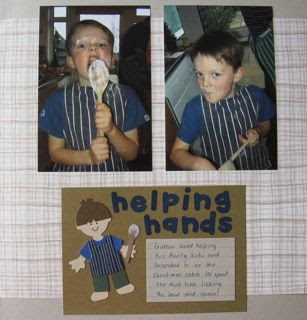 Cooking scrapbook page by Vicki Hibbins using Sizzix dies to create a mini-person