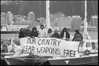 anti-nuclear protesters in Auckland Harbour, 1976