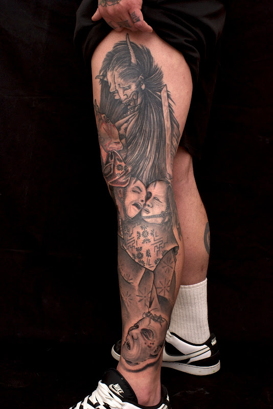 black+and+grey+leg+tattoo. title=