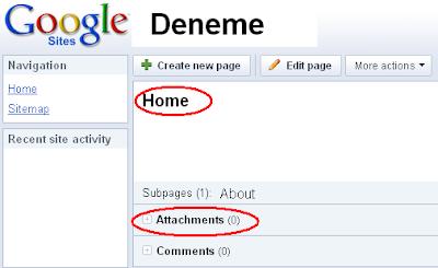 Google Sites servisinde dosya dizini