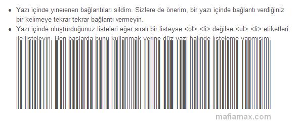 Internet Explorer yazı barkodlaması
