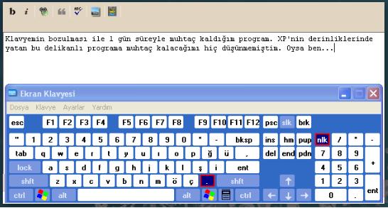 XP Ekran Klavyesi