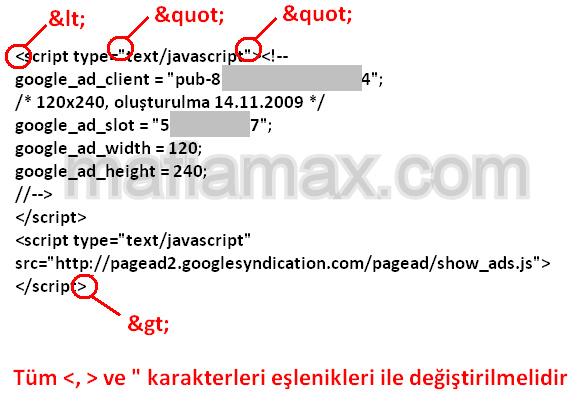 Adsense kodlarını XML için düzenleme
