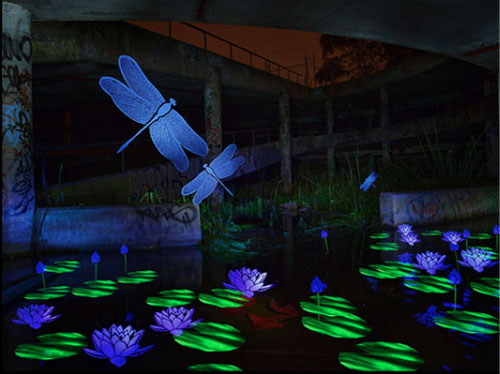 Blue Dragon Fly light Graffiti Stencil