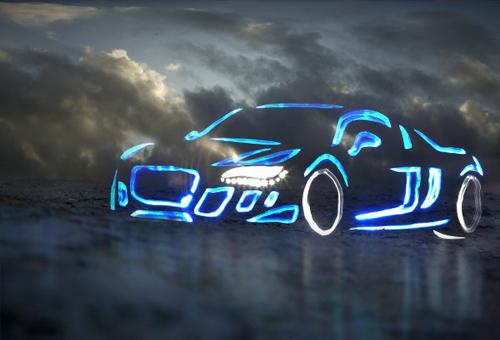 Blue Ice Audi Light Graffiti