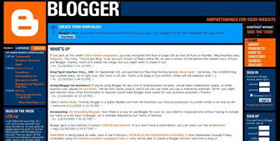 Blogger History: Blogger Page Screenshoot 2000