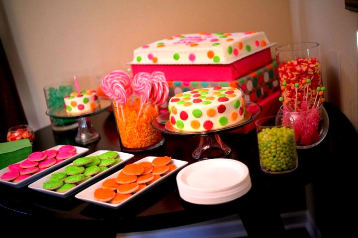 pink lime and orange polka dot birthday polka dot