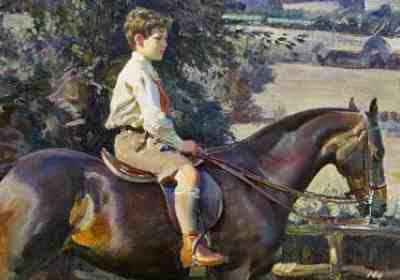 Sir Alfred J. Munnings - A Boy and his Pony, Portrait of Daffern Seal on Canary (detail) © Sotheby's Images