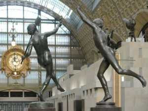 Musee d'Orsay - Falguiere's The Winner of the Cockfight (1862-64) in the foreground