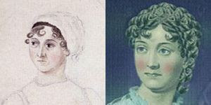 Jane Austen by Cassandra Austen (left) and the Wordsworth makeover