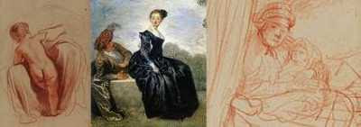 Guercino drawing + Seduction + Rembrandt Drawing