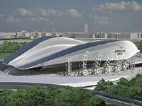 Artist's Impression of the revised London 2012 Olympics Aquatics Centre by Zaha Hadid Architects