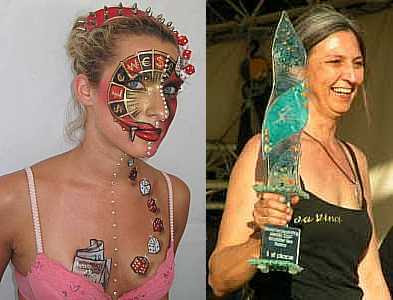 Bibi Freeman's award-winning entry and Bibi holding the Facepainting Trophy (photo Cat Finlayson) July 2007