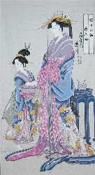 Two Beauties: Traditional Japanese Noren (silk door curtain)