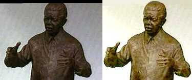 Ian Walters - Statue of Nelson Mandela (left BBC, right I.C. enhanced)