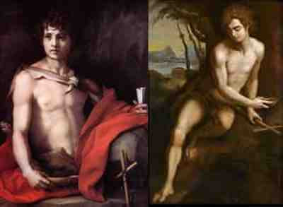 Andrea del Sarto - Saint John the Baptist (1528) plus Saint John the Baptist in the Wilderness (17th c. ?)