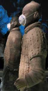 Two of the Chinese Terracotta Army wearing Face Masks (15/10/07)