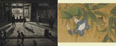 Left: Martin Lewis - Spring Night, Greenwich Village (1930), Right: Blue Flower with Wasp