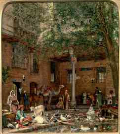 John Frederick Lewis - Study for 'The Courtyard of the Coptic Patriarch's House in Cairo' (ca 1864)