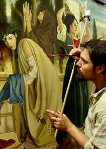 Luca Battini at work on a preliminary painting (2008)