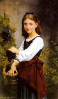 Elizabeth Bouguereau - A Young Girl holding a Basket of Grapes