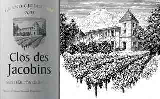 Clos des Jacobins Wine Label and Michael Halbert's scraperboard illustration (with the artist's kind permission)