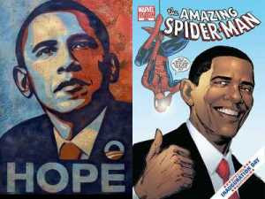 Left: Shepard Fairey - Hope (2008) Right: DC Comics' Spider-Man (2009)