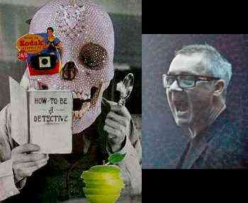 Cartain - 'Graffiti Print' using For the Love of God plus Damien Hirst showing his teeth (both 2008)