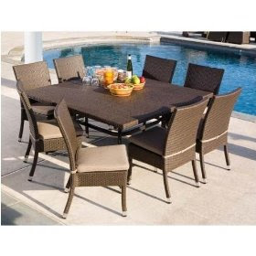 Discount Furniture Stores: Vento 60 Inch Square Glass Top Wicker Dining Table Set With Cushions