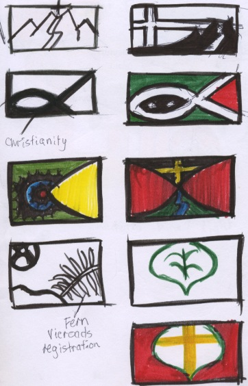 this task required me to design my own flag that will best reflect me as a person i had to somehow show my interests in mountain biking art and faith into