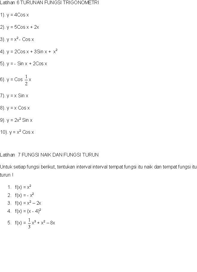 Skanisa Math Latihan Soal Turunan Fungsi Trigonometri