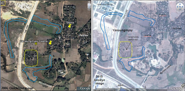 Geo spatial visualization on burma myanmar visualizing burma in a update the january 2006 satellite image on google earth shows that a two way lane road was constructed through the old town from north to south publicscrutiny Image collections