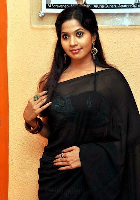 actress devika hot in black saree stills