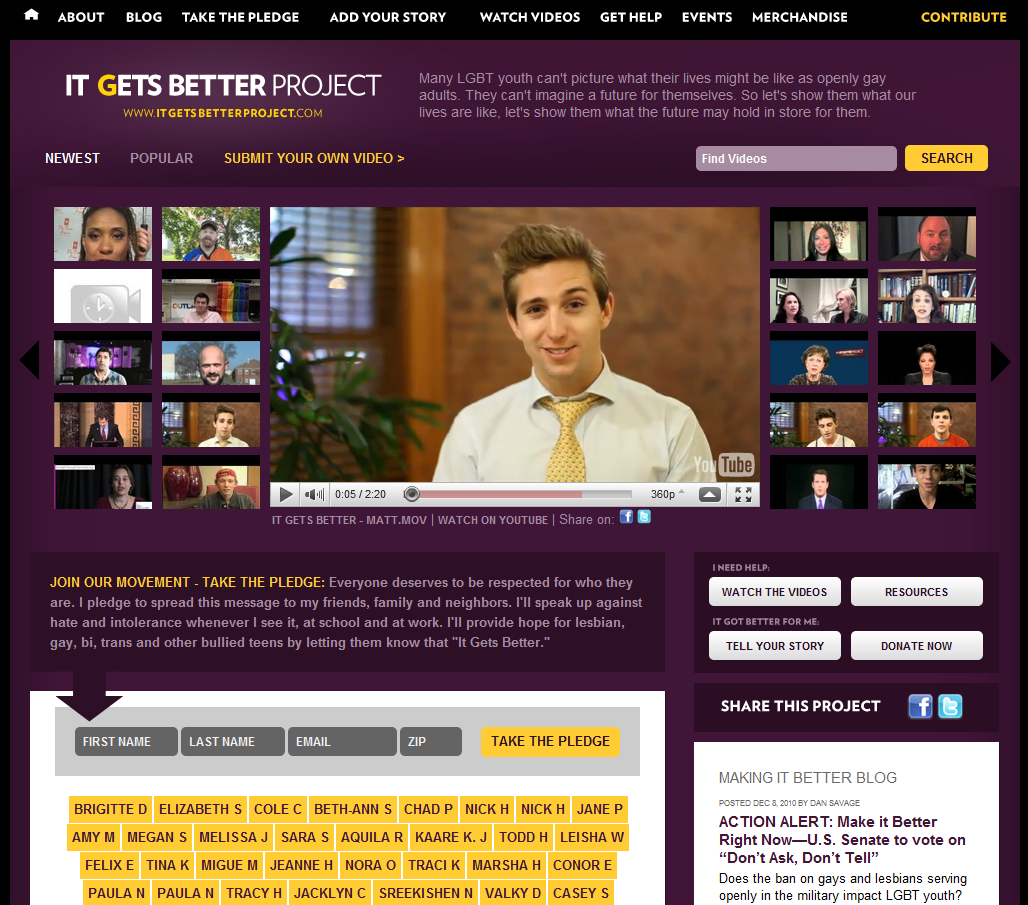 "it gets better project ""it gets better"" project is a social media campaign launched by american author and gay rights advocate dan savage in an effort to prevent suicide among lgbt."