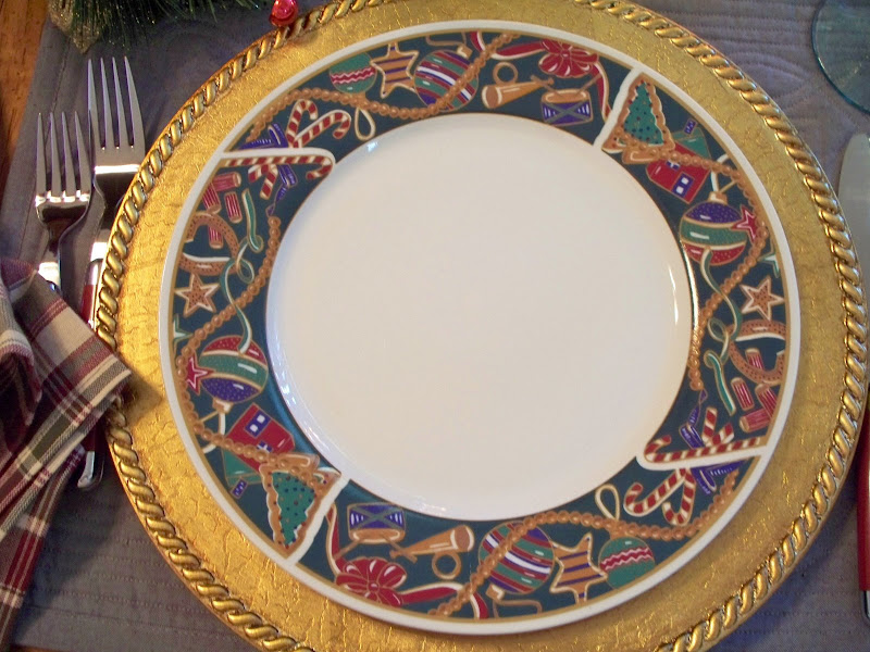 I have had the Christmas dishes for many years. The gold chargers are from