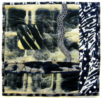 Shibori discharge quilt