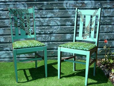 Coppia sedie decorate dipinte a mano