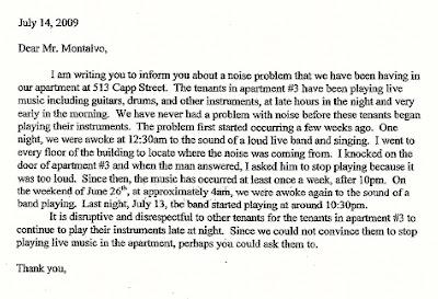 formal letter complaint about noisy neighbours apartment noise landlord complaint letter