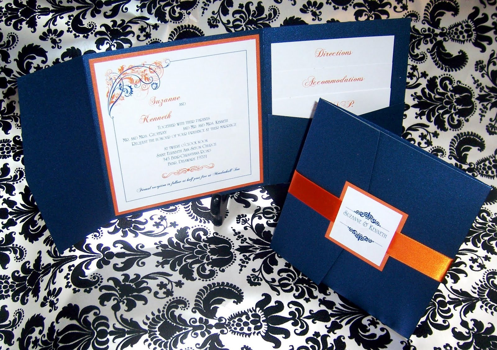 Suzanne And Kenneth S Choice Of Navy Blue Tangerine Invitations Is Truly Unique The Delicate Paisley Decal Vibrant Give These Invites A