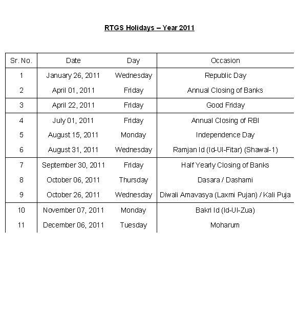 2011 Holidays Calendar - List of Dates