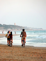 biking to the beach in Spain